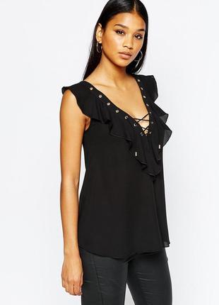 Новая черная блузка с оборками и декольте на шнуровке asos lipsy london маленький размер2 фото