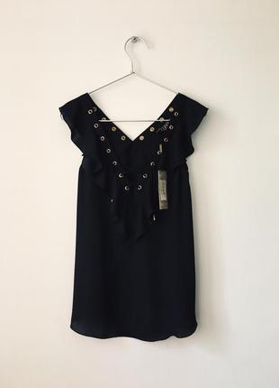 Новая черная блузка с оборками и декольте на шнуровке asos lipsy london маленький размер5 фото