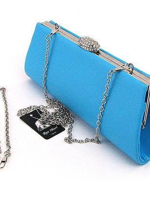 Вечерняя голубая сумка-клатч со стразами с цепочкой через плечо