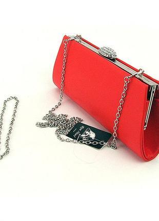 Красная вечерняя сумка-клатч со стразами с цепочкой праздничная выпускная
