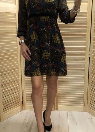 Шифоновое платье с цветочным принтом zara