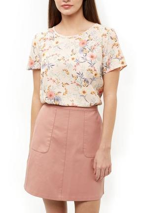 Нюдовый топ с полевым цветочным принтом new look бежевая блузка в цветочек
