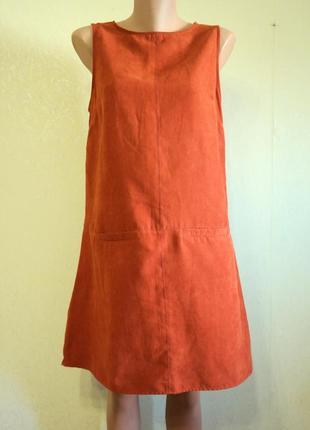 Платье-сарафан из ткани под замшу