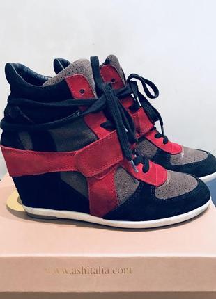 Сникерсы кеды ботинки на платформе черные красные ash осенние замшевые осень оригинал