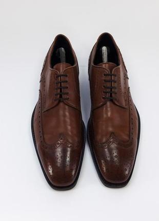 Hugo boss мужские кожаные туфли броги оксфорды коричневого цвета