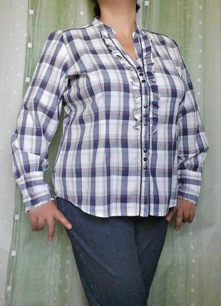Хлопковая рубашка, блузка с рюшами