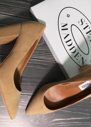 Steve madden бежевые туфли  лодочки на широком каблуке бренд из сша5
