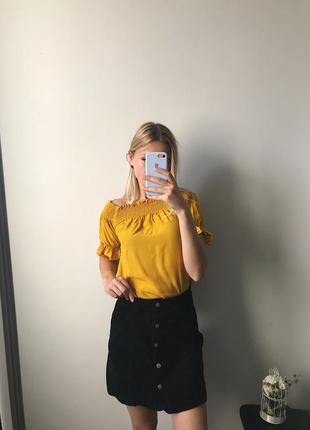 Вельветовая юбка с пуговками denim co