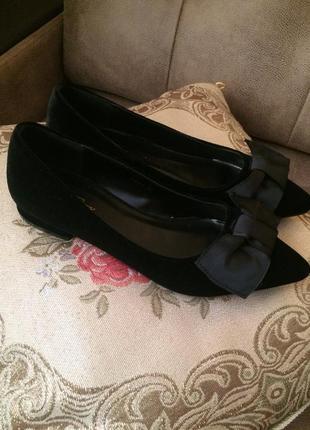 Велюровые туфельки с бантиком