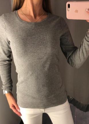 Базовый серый реглан в рубчик amisu лонгслив лапша кофточка xs-xl