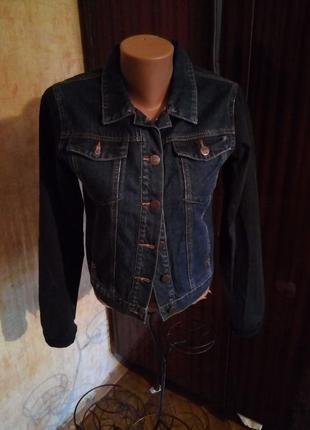 Джинсовая куртка пиджак с укороченной спинкой bik bok  норвегия