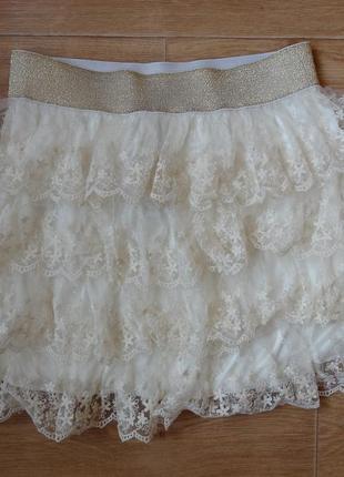 Снизила цену красивая гипюровая юбка рюшами .