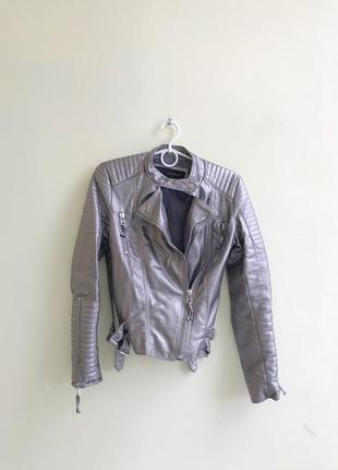 Кожаная куртка косуха эко кожа стального серебряного цвета графит