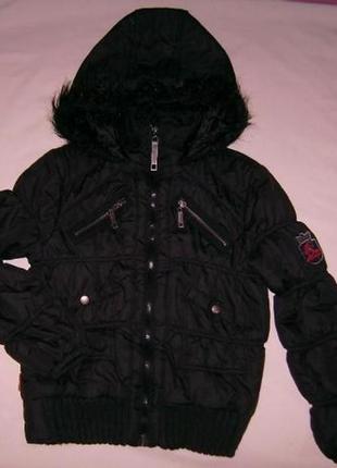 Осенняя куртка ветровка reporter young стёганая чёрная с капюшоном