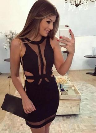 Сексуальное черное облегающее бандажное платье футляр миди по фигуре herve leger
