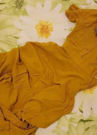 Платье горчичного цвета musthave 32 р. летнее длинное