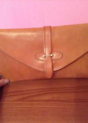 Фирменный кожаный клатч сумочка высококачественная кожа шкіра италия
