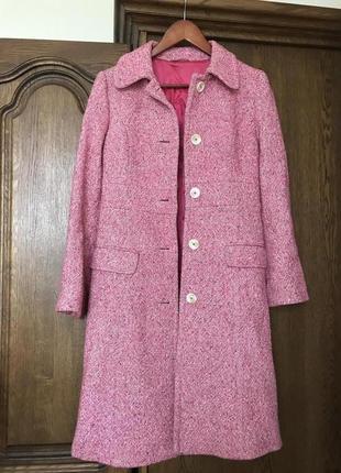 Розовое твидовое пальто stefanel, италия