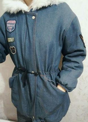 Джинсовая куртка-парка на искусственном меху