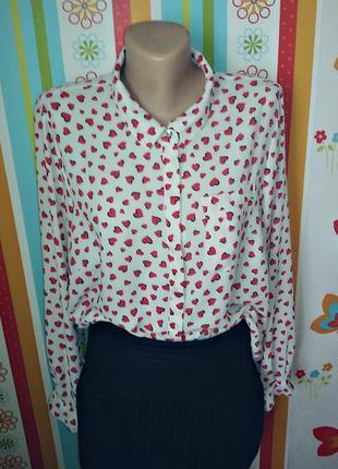 Шифоновая блуза с принтом сердечки
