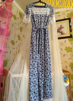Нарядное платье/сарафан, макси, длинное, в пол+кружево