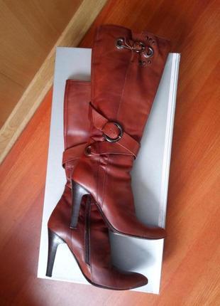 Итальянские  кожаные сапоги осень/ весна léa foskatti 37/383