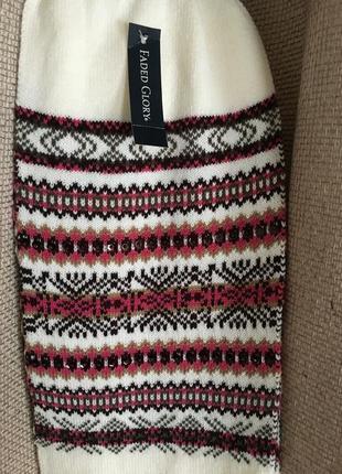 Новый, теплый шарф с красивым узором, 18,5х170, + 14см бахрома