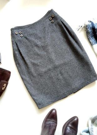 Серая высококачественная шерстяная брендрвая юбка карандаш миди