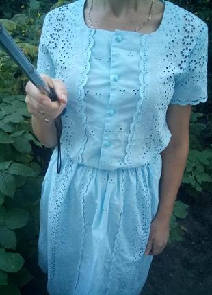 Красывый кружевной костюм блуза +юбка миди в нежном голубом цвете раз. s
