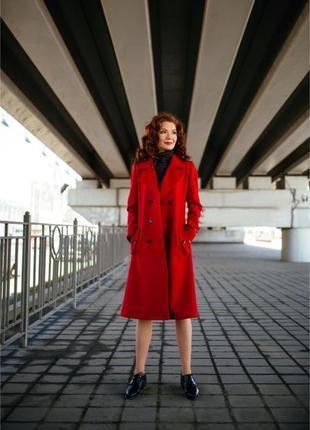 Красный элегантный тренч/пальто осень-весна 100% шерсть