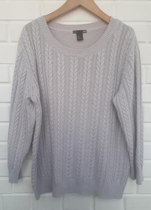 Серый вязаный свитер джемпер вязка косичка коса