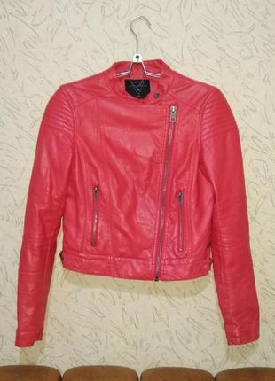 Красная косуха, байкерская куртка р.s/m. кож.зам.