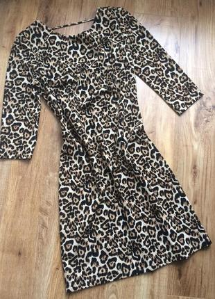 Платье мини леопард