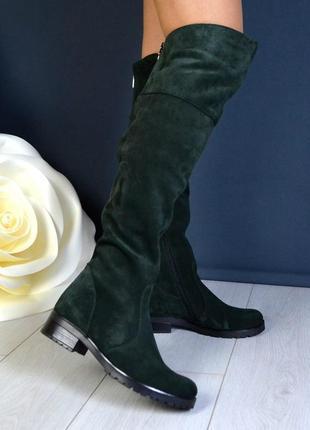 36-41 рр деми/зима сапоги ботфорты черные, бордо, зеленые натуральная кожа, замша