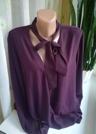 Блуза на запах баклажанового цвета atmosphere