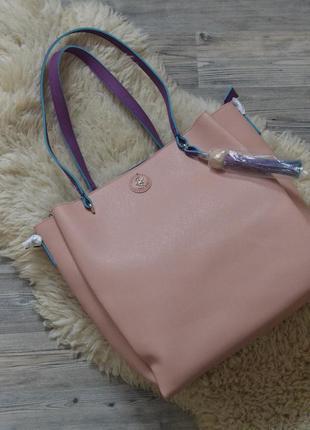 Вместительная сумка beverly hills polo club цвета пудры