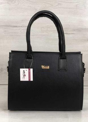 Черная деловая матовая классическая сумка саквояж