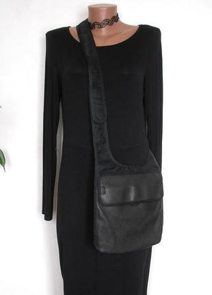 Большая кожаная сумка планшет, 100% натуральная кожа+плотный нейлон, доставка бесплатно