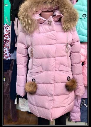 Зимнее пальто для девочки кико 4901 пудра на тинсулейте. зима 2018