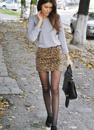 Трикотажная юбка в леопардовый принт от h&m обхват в талии 86+