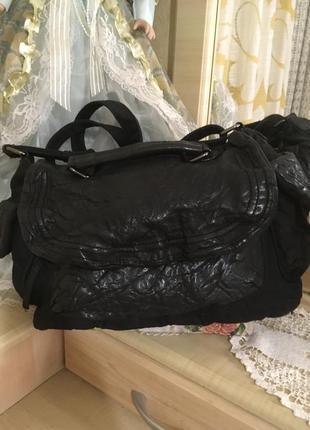 Большая сумка кожа+текстиль