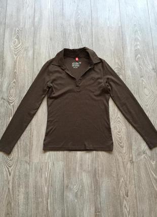 Коричневый лонгслив с воротником, поло, футболка с длинным рукавом