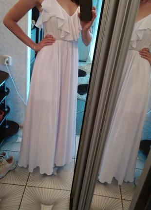 Платье длинное в пол белое