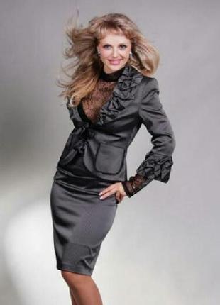 Стильный комплект, костюм, пиджак и юбка, 3xl-4xl