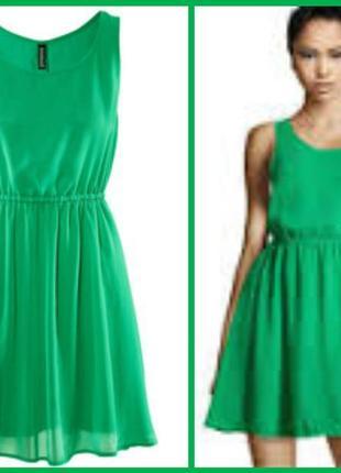41590baaa30 ... Шифоновое зеленое платье солнцеклеш от h m divided2 фото ...