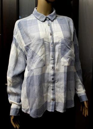 Нежная натуральная рубашка оверсайз в клетку marks & spencer