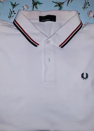 Акция 1+1=3 фирменная белая футболка поло fred perry оригинал, размер 52 - 54
