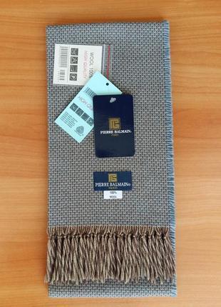 """Мужской, классический, брендовый шарф """"pierre balmain"""", 100% шерсть.1 фото"""
