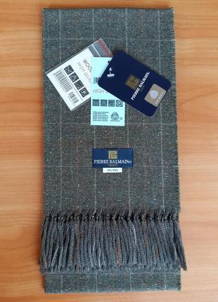 """Мужской, классический, брендовый шарф """"pierre balmain"""", 100% шерсть.3 фото"""