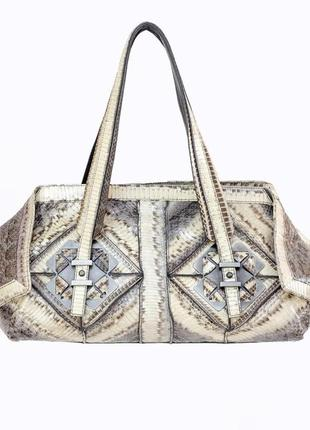 Оригінальна сумка з шкіри пітона salvatore ferragamo python satchel bag